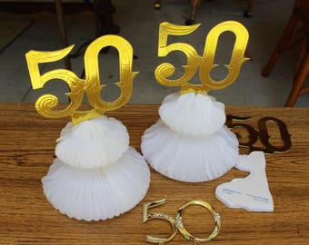 VINTAGE 50s decorations - 3 honeycomb bells, one cake topper