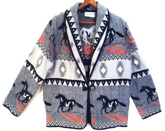 PAINTED PONIES // vintage 80's 90's // cotton tapestry // southwest blanket jacket // women's M / L
