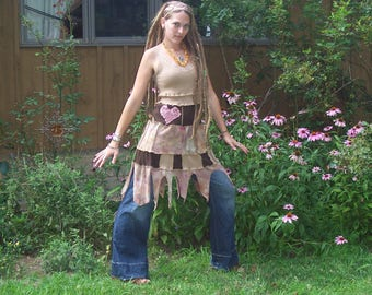 LOVE in the DREAM - Eco Gypsy - Patchwork Hippie - Tie Dye - Fairy Hem - Tank Top Lace Spinners Dress