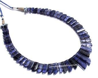 Rare! Natural Iolite Gemstone Cleopatra style wide collar necklace / Iolite Necklace / Cleopatra Style Iolite Designer Necklace