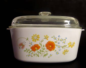 Wildflower 5 Ltr (5 Qt) Casserole / Dutch Oven Corning Ware Pyroceram A5B USA