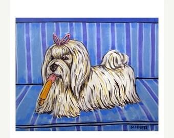 20% off storewide Maltese with a Popsicle Dog Art Print JSCHMETZ MODERN abstract folk pop art 11x14