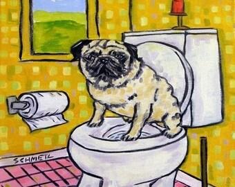 20% off Pug, dog art tile, pug tile, bathroom tile, fawn pug, dog coaster, pug art