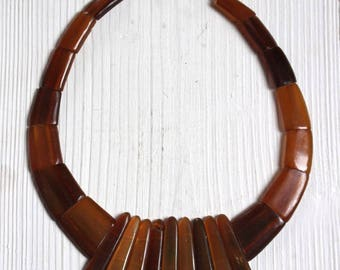 Vintage horn bib necklace