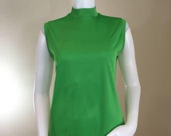 70s Green Mock Neck Sleeveless Back Zip Top, Medium
