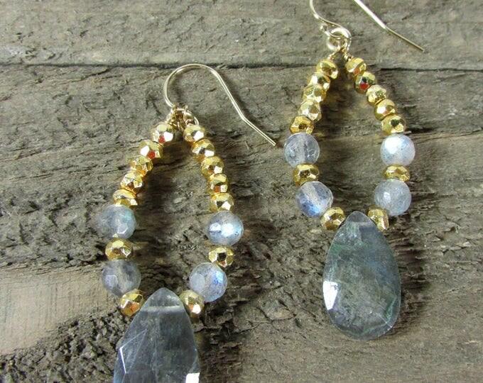 Labradorite & Gold Earrings, Labradorite Dangle Earring, OOAK Earrings, Gold Pyrite Earring