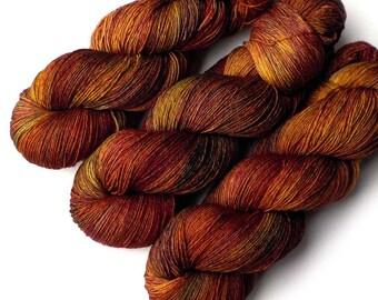 Hand Dyed Yarn Euro Fingering Yarn 820 yards Superwash Merino - Mixed Maples