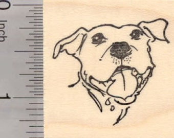Happy Pitbull Dog Portrait Rubber Stamp D19205 Wood Mounted