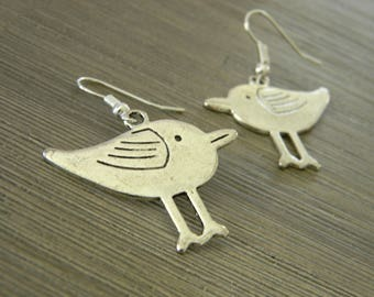 Silver Bird Earrings Sandpiper Earrings Modern Bird