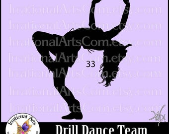 Drill Dance Team Silhouettes Pose 33 - 1 EPS & SVG Vinyl Ready files and 1 PNG digital file and commercial license [Instant Download]