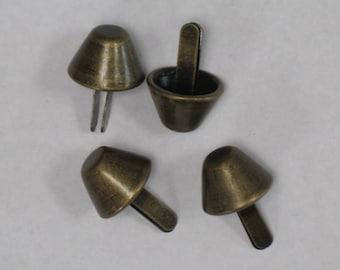 Antique Brass Bucket-Shaped 18mm Metal Purse Feet