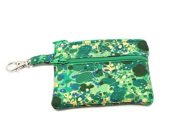 Summer Clearance Small Zippered Wallet Change Purse Gadget Case   Green with Gold Splotches