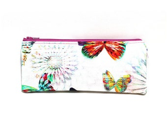 Cosmetic Case, Cord Case, Bridesmaid Gifts, All-Purpose Zipper Case, Crystalia Digital Print Butterfly Opal 9070