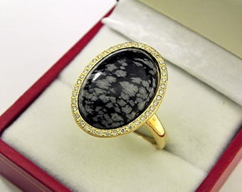 AAAA Snowflake Obsidian 18 x 13mm  8.49 Carats   14K Yellow gold Diamond halo cabochon ring. 1519
