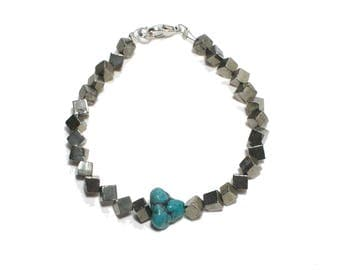Bohemian turquoise nugget and pyrite stone beaded stackable bracelet
