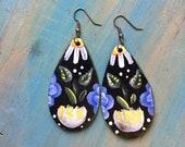 Tear drop Flower wooden earrings- small