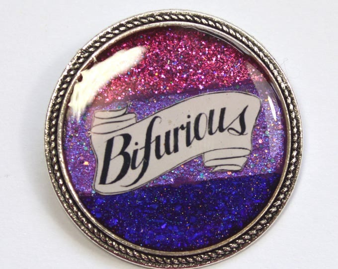 Bifurious Bisexual Pride Bi Queer Glitter Resin Brooch