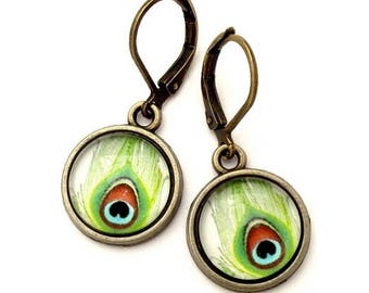 Green Peacock  Feather Glass Photo Earrings  Nickel Safe
