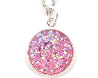 """Pretty Pink Druzy Necklace 18"""" Stainless Steel Chain"""