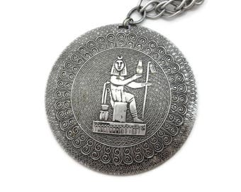 Egyptian Jewelry Pendant Charm - Egyptian Revival Silver Tone Aluminum Medallion