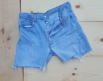 "Vintage Levi's Cut Offs  //  Vtg 90s Made in the USA Levis 501 Distressed Faded Denim Shorts  //  35"" waist"
