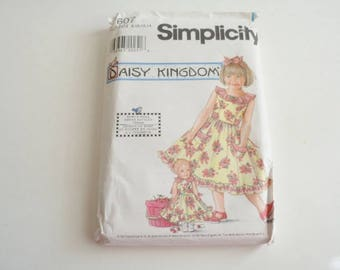 Vintage Simplicity 7607 Daisy Kingdom Sewing Pattern Girls  Size 8-10-12-14, Doll Size 17''