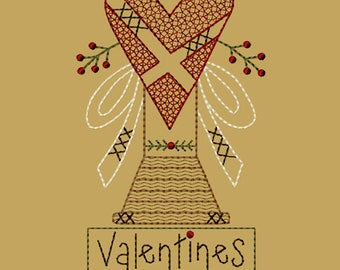 Intro Priced 20% Off till 2-25-MACHINE EMBROIDERY-Valentines Heart Spool-5x7-Redwork-Instant Download