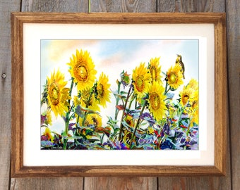 """Original Watercolor Painting """"Sunflower Lark"""" Matted and Framed 26.5 x 20.5"""" (NOT A PRINT)"""