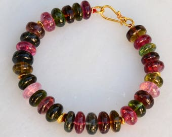 102.8CT 18k solid gold Tourmaline Smooth Rondelle Bead Bracelet 6.5 inch