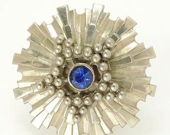 Mid Century Silver Starburst Brooch
