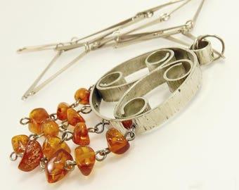 Modernist Silver & Amber Pendant Necklace Mid Century Scandinavian Style