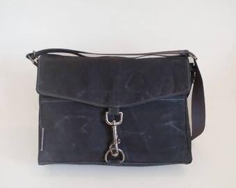 Gray Waxed Canvas Cross Body Bag