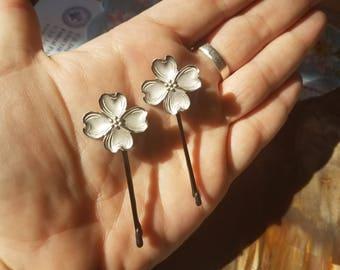 Vintage Sterling Silver Stuart Nye Dogwood Hairpin (Hair Pin, Bobby pins) Set