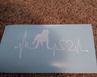 """Pitbull heartbeat lifeline decal sticker for car or truck window 5"""" white only"""