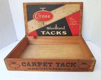 Vintage 1930's  Cross Carpet Tacks Store Counter Top Advertising Display Box, Art Deco Design Paper Label, Hardware, Industrial Adv Box
