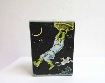 Gift Box, Trinket Box, Jewelry Box, Keepsake Box, Handmade Decorated Box, Vintage Papers Box, Kids Box, Man in Night Sky Hangs from Basket