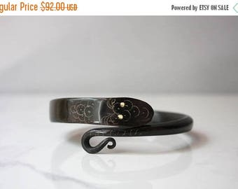 STOREWIDE SALE Victorian Snake Bracelet / Antique Carved Horn Snake Bangle / Black Horn with Inlay Eyes Snake Bracelet