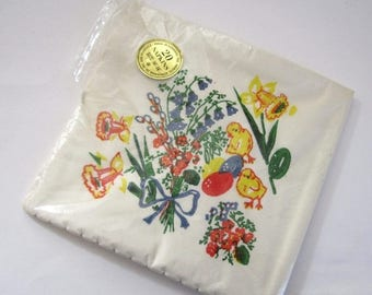 ON SALE- vintage paper dinner napkins for Easter spring daffodils chicks eggs flowers in original package made in Denmark for Marcel Schurma