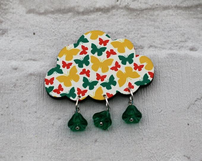 Butterfly Rain Cloud Brooch, Wooden Weather Brooch, Cloud Badge, Wood Jewelry