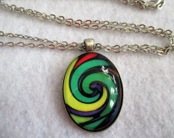 Captivating Green Red Yellow SWIRL Cabochon PENDANT Necklace