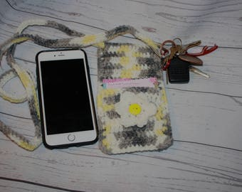 Cross body cell phone holder, cell phone purse, crochet, purse, bag, cross body bag, phone sleeve, iPod case, smart phone holder