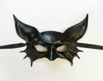 Black Leather Mask ... like a bat ... or a cat ... animal ... creature very lightweight and easy to wear entirely handcrafted