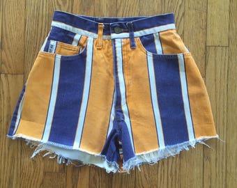 Vintage 90s Hip Hop Striped High Waist Denim Cut Off Shorts - 26 inch waist