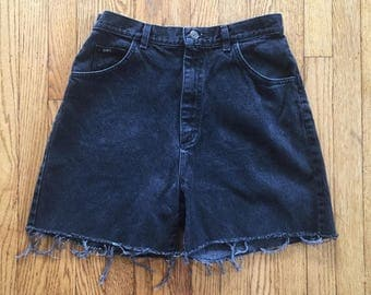 Vintage 90s Lee Black High Waist Denim Cut Off Shorts - 32 inch waist
