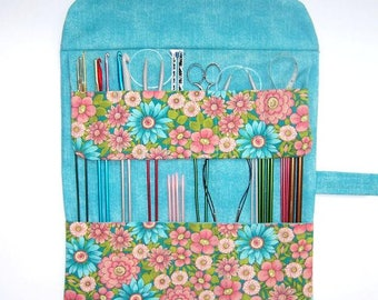 Blue Pink Knitting Needle Case, Green Floral Crochet Hook Holder, DPN Double Pointed Needle Storage, Artist or Makeup Brushes Organizer