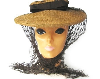 "1940s ""New Look"" Natural Straw and Brown and Cartwheel Hat / Platter Hat with Bow and Netting / Louchez of California Creation / Size 22.5"