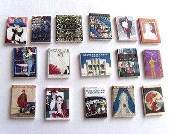 Miniature Art Deco Magazines x 16 - 1/12th Scale Dollhouse Miniature Magazines - Vogue, Vanity Fair