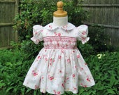 Smocked dress, Size 12Mo, Pink roses, Baby girl, Easter dress, Ready to ship, Shabby roses, Party Dress, Heirloom, Baby gift, Birthday gift