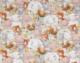 New ~ Packed Farm Animals Multi Color from Cotton Tale Farm by Bunnies by the Bay  ~ Timeless Treasures Collection, Cotton Quilt Fabric