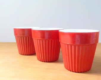 Vintage Hazel Atlas Flower Pot Collection • 3 Small Fired On Glass Planter Flowerpots • Red Milk Glass  Flowerpots